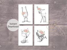 Grey Coral Pink Woodland Animal Set of 4 Printable Prints - Wall Art Printable Prints Playroom Wall Decor, Nursery Wall Art, Nursery Decor, Bedroom Decor, Nursery Ideas, Bedroom Wall, Grey And Coral, Coral Pink, Floral Nursery