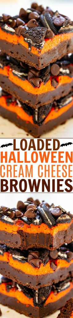 Loaded Cream Cheese Halloween Brownies — Ultra fudgy, rich brownies topped with a layer of orange cream cheese, sandwich cookies, and chocolate chips!! The perfect EASY Halloween treat that everyone will love!! Halloween Brownies, Halloween Desserts, Easy Halloween, Halloween Treats, Halloween Goodies, Halloween 2019, Halloween Stuff, Brownie Toppings, Brownie Recipes