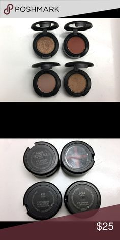 MAC Eyeshadow Bundle of 4 You will receive the shadows in pics. Very light usage, once or twice at the most. Brown Script has a red X on the bottom because it was a back to MAC choice. MAC Cosmetics Makeup Eyeshadow