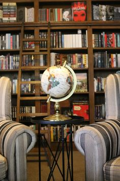 Private library with globe.