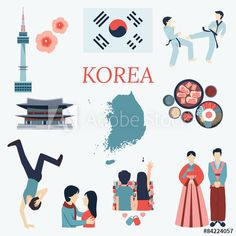 Korea design elements vector image on VectorStock Korea Design, South Korea Travel, Learn Korean, Thinking Day, Korean Traditional, Korean Language, Design Elements, Asia, Poster
