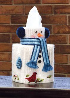 Snowman Plastic Canvas Tissue Box Cover #MaryMaxim