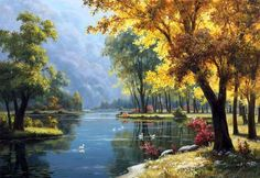 Landscape painting : Kang Jung Ho A beautiful picture of the mountains Art Et Nature, Nature Artwork, Nature Paintings, Watercolor Landscape, Landscape Art, Landscape Paintings, Watercolor Art, Classic Paintings, Beautiful Paintings