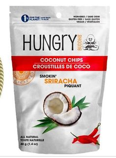 Hungry Buddha Smokin' Sriracha Coconut Chips Halal Snacks, Fruit Snacks, Hungry Buddha, Snack Mix Recipes, Coconut, Chips, Potato Chip, Potato Chips