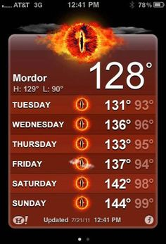 So how's the weather in Mordor this week?