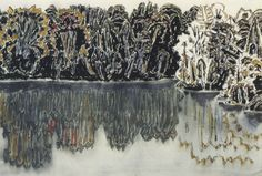 David Milne (Canada, 1882 - Dark Shore Reflected, Bishop's Pond, 1920 Watercolor on Paper x cms Canadian Painters, Canadian Artists, Landscape Art, Landscape Paintings, Landscapes, David Milne, Montreal Museums, Black And White Tree, Art Base