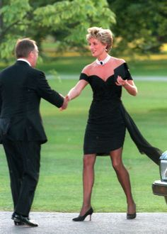 """Cont'...The sexy LBD was made for Diana 3 years earlier, but Diana thought it was too daring. The dress featured a ruched, asymmetrical bodice, cap sleeves a side sash & hugged Diana's curves. It was perhaps her most daring & strategic fashion move, because, Diana knew that on the same night her estranged husband Prince Charles would officially confess to his adulterous relationship with Camilla in a televised documentary about his life & work. """"She wanted to look a million dollars, and she…"""