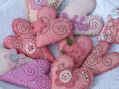 hand dyed and stitched hearts by Jone