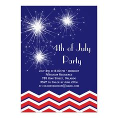Sparklers & Chevrons 4th of July Party Invitation