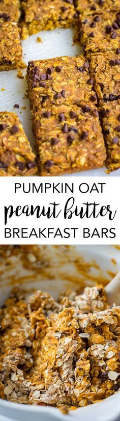 Pumpkin Peanut Butter Oat Breakfast Bars are a wholesome fall treat, perfect for an on-the-go breakfast or quick healthy snack. Pumpkin Peanut Butter Oat Breakfast Bars are a wholesome fall treat, perfect for an on-the-go breakfast or quick healthy snack. Breakfast Bars, Breakfast Recipes, Snack Recipes, Cooking Recipes, Breakfast Ideas, Free Breakfast, Healthy Recipes, Pretzel Recipes, Vegetarian Recipes
