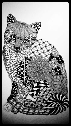 CoFoNo - Zentangle Inspired Art - ZIA - Galerie Portrait meines Katers Rambo - Katze - Zentangle cat - Zentangle patterns: Coral Seeds, Betweed, Diva Dance, Poke Root, Fiore, Miasma, Hollibaugh, Mumsy, Fassett, Jonqual, Keeko, Bales, Aquafleur, Bunzo, Purk