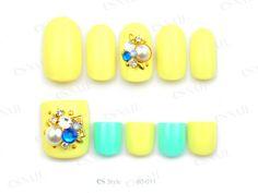 nail art design for short nails and toe nails, pedicure, neon yellow, stones, gem, neon mint green #toenail #nailart #shortnail