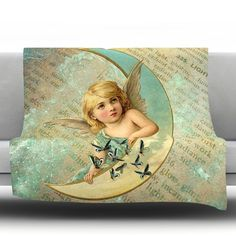 "East Urban Home Angel Fleece Throw Blanket Size: 60"" L x 50"" W"