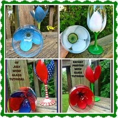 Four easy painted wine glasses tutorials