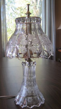 VTG Crystal Boudoir Lamp. Cut Glass Floral by VintageandSheek