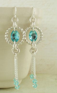 Grand Linked Loops Twisted Crystal Maille Set - Earrings, Necklace, Bracelet Kit - Classic Silver with Swarovski Crystals. $76.00, via Etsy.