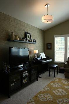 Bonus room idea love the yellow rug