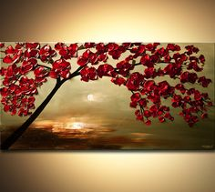 Original abstract art paintings by Osnat - red cherry tree