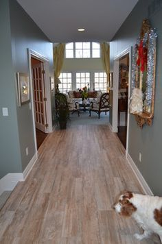 Is It Porcelain or Wood? - Porcelain tile is gaining popularity, partly because it is now available in styles that look like wood and other patterns. Ease of maintenance and care is another major draw. Transitions perfectly to living room carpet, also from Carpetland Carpet One Floor & Home