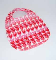 Valentine Baby Bib  Pink and Red Hearts  Baby's by pasqueflower
