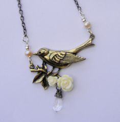 Bird necklace wedding jewelry bridal necklace flower necklace flowers sweet necklace center piece necklace roses girl necklace rose necklace