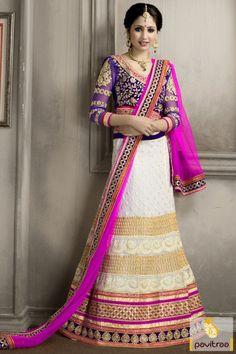 Amazing design with white pink santoon ghagra choli with discount offer online store. It is designed with embroidered lace patti and stone on choli. #lehengacholi, #lehengastyle, #navaratrigarbacholi, #chaniyacholi, #ghaghracholi, #weddingbridalcholi, #discountoffer, #festivalcholi, #pavitraafashion, #utsavfashion, #whitelehengastyle http://www.pavitraa.in/store/lehengha-choli/ callus:917698234040