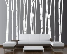 Large Wall Birch Tree Decal Forest Kids Vinyl Sticker Removable (9 trees) 8 foot tall $99.99