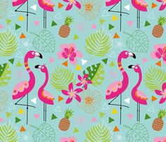 PINK FLAMINGO ocean blue fabric by doro_kaiser on Spoonflower - custom fabric #spoonflower #flamingo #fabric #pattern #patterndesign #licensing