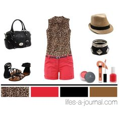 animal print outfit. leopard blouse + coral shorts