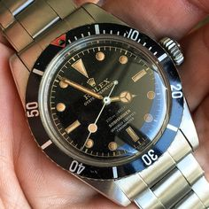 """1959 Rolex 6538 ""James Bond"" Submariner. While your momma was getting the Goldfinger, Rolex was pushing out the last of the great 6538 Big Crowns..."""