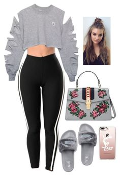 """With my bxtch and she'll never snitch"" by princess-alexis18 ❤ liked on Polyvore featuring Wolford, Puma, Gucci and Casetify"