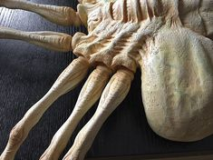 Hi all, I'm almost done finishing a facehugger kit, and wanted to share the progress with you. :) For many years I'd wanted a cool life-sized facehugger. Sculpture Art, Sculptures, Scary Characters, Prop Maker, Alien Vs Predator, Sculpting, Area 51, Queen, Aliens