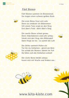 Fünf Bienen, Fingerspiel, Arbeitsteilung Bienen, Gedicht Kindergarten Grundschule