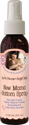 Earth Mama Angel Baby: New Mama Bottom Spray is perfect for recovering postpartum! It worked better that the Dermablast that was reccomended to me, and it's all natural! If you have a tear or episiotomy (or even when you don't, you can still be sore down there!), this is a MUST.       I am an affiliate because I USE and LOVE these products! Buy from my banner on my homepage: www.mamamatters.com