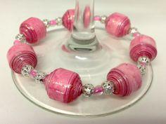 Bracelet pink paper beads