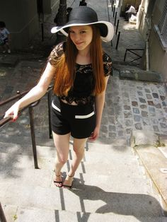 Outfit | Monochrome in Sunny Paris - Day 1 | Wearing a SIX hat, top from Frigiliana, Spain, Forever 21 shorts and Zara strappy sandal heels. #Fashion #Mode #Outfit #Blog #Blogger