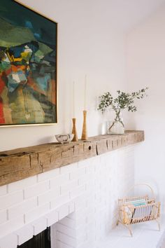 Samantha Gluck Emily Henderson Raw Wood Mantle1