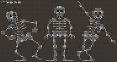Dancing Skeletons Cross Stitch Pattern by StitchBucket on Etsy Funny Cross Stitch Patterns, Cross Stitch Charts, Cross Stitch Designs, Cross Stitch Skull, Fall Cross Stitch, Cross Stitching, Cross Stitch Embroidery, Diy Broderie, Crochet Skull
