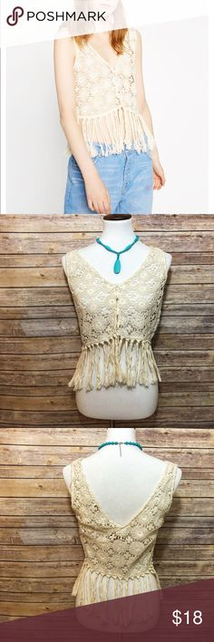 """🆕 Zara Trafaluc Collection Crochet Fringe Vest Adorable cream/beige crochet fringe crop vest featuring iridescent buttons on front from Zara Trafaluc Collection. Perfect for Coachella or festival season 🌸Size Medium. New with tags.   Measurements  17"""" across 21"""" long Zara Tops Crop Tops"""
