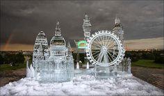 London skyline ice sculptures.