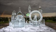 London skyline ice sculptures.