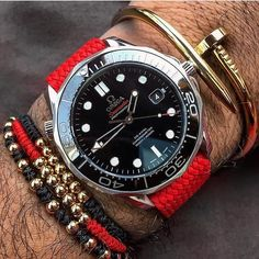 Red 20mm Perlon strap on a beautiful ceramic Omega Seamaster belonging to @staydapper_kunal. Thank you so much for the picture and order!! #whatchs www.whatchs.com by whatchsdotcom #omega #seamaster #watchesformen