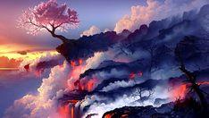 cherry blossom tree near flowing lava digital wallpaper digital art cherry blossom fantasy art Anime Scenery Wallpaper, Tree Wallpaper, Landscape Wallpaper, Computer Wallpaper, Nature Wallpaper, Mountain Wallpaper, Volcano Wallpaper, Wallpaper Wallpapers, Iphone Wallpaper