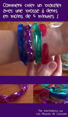 A bangle made from a tooth brush. Recycled Jewelry, Plastic Jewelry, Recycled Crafts, Resin Jewelry, Cute Crafts, Bead Crafts, Jewelry Crafts, Bangles Making, Jewelry Making