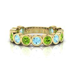 Silver Topaz and Peridot Ring. Romantic Dinners, Eternity Ring, Peridot, Turquoise Bracelet, Topaz, Bracelet Watch, Rings, Silver, Fun