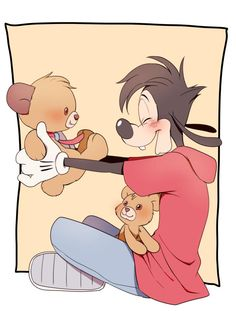 Max Goof playing with Duffy bears