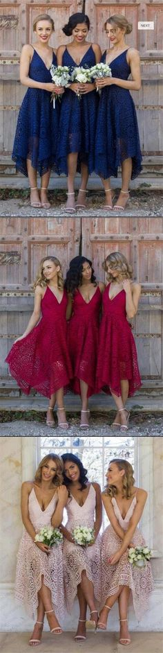 Short Royal Blue Pink Red Bridesmaid Dresses, Full Lace Newest Bridesmaid Dress, PD0333 #lace bridesmaid dresses#fashion #shopping #wedding party dresses# #bridesmaidsdresses