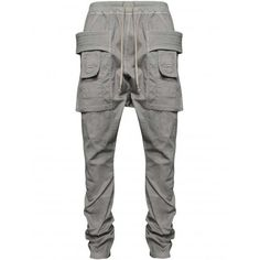 Rick Owens DRKSHDW Grey Hustler Cargo Pants   HERVIA SS16 Menswear ($414) ❤ liked on Polyvore featuring men's fashion, men's clothing, men's pants, men's casual pants, mens summer pants, mens gray pants, mens grey cargo pants, mens grey dress pants and mens cargo pants