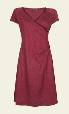 KING LOUIE Jurk Cross Dress Little Dots Plum Red
