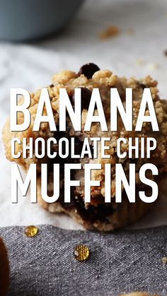 These streusel topped Banana Chocolate Chip Muffins are quick and easy to make. Banana Chocolate Chip Muffins Recipe by Also The Crumbs Please Baked Breakfast Recipes, Breakfast Bake, Muffin Recipes, Baking Recipes, Breakfast Muffins, Easy Recipes, Banana Chocolate Chip Muffins, Chocolate Chip Recipes, Chocolate Chips